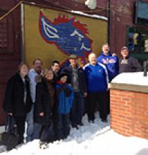 Sheffield neighbors and friends gather before attending the February 9 DePaul women's basketball game.
